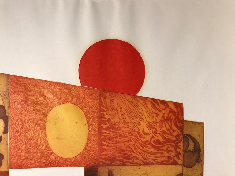 Red Sun by Makoto Ouchi, Japanese etching 1/60, red, yellow Kabuki contemporary For Sale 9