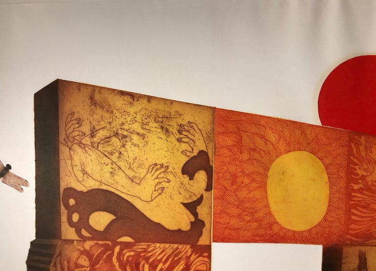 Red Sun by Makoto Ouchi, Japanese etching 1/60, red, yellow Kabuki contemporary For Sale 1