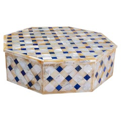 Makrana Marble Box from Agra India Inlaid with Lapis and Abablone