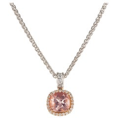 Makur 1.30 Carat Morganite Diamond 18 Karat White Gold Pendant Necklace