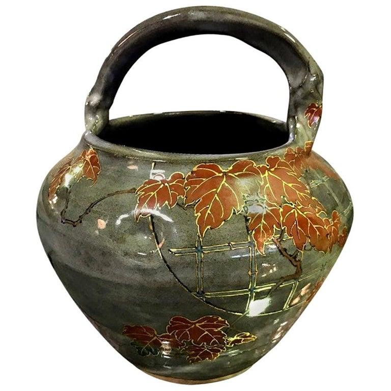 Makuzu Kozan II Signed and Stamped Japanese Ceramic Flower Pottery Bowl Pot For Sale