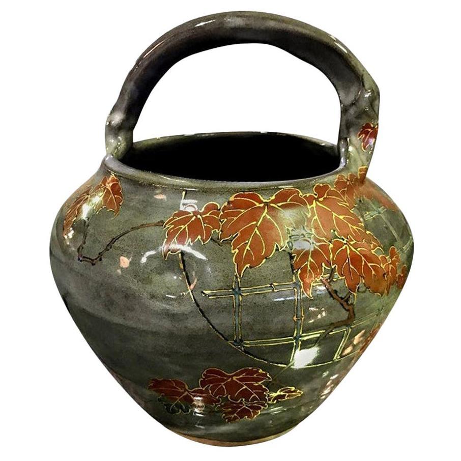 Makuzu Kozan II Signed and Stamped Japanese Ceramic Flower Pottery Bowl Pot
