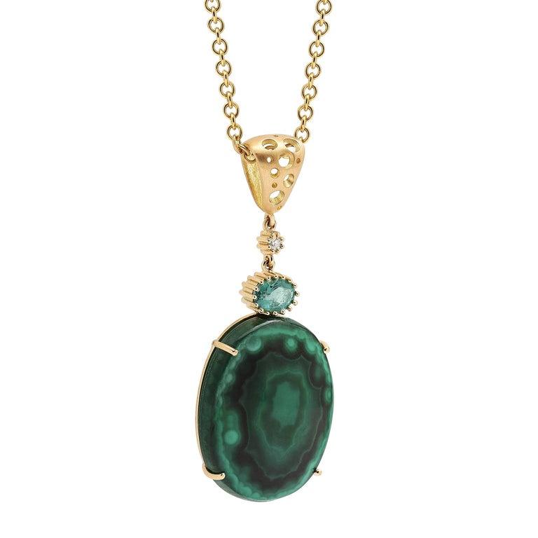 Malachite and Emerald Moving Drop Pendant