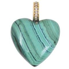 Malachite 14 Karat Gold Heart Charm Pendant Necklace