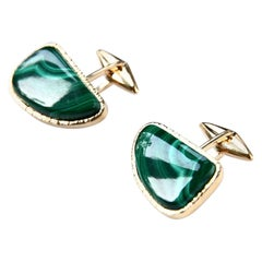 Malachite 18 Karat Gold Cufflinks