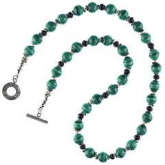 Malachite and Black Onyx necklace with Silver Accents