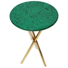 'Malachite' and Brass Side Table by Piero Farnasetti, circa 1960s, Signed