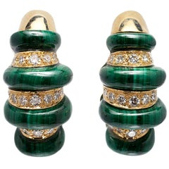 Malachite and Diamond Hoop Earrings Set in 18 Karat Yellow Gold, circa 1970