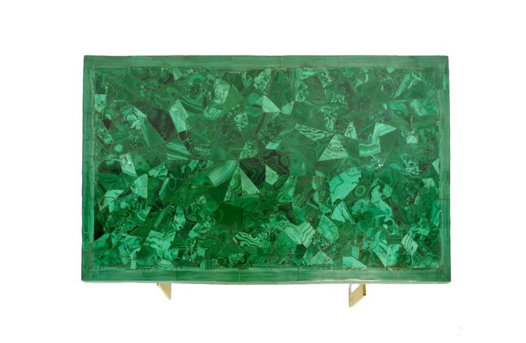 Coffee table with a geometrical gilt brass stand with a removable veneered malachite top in a rectangular shape.  Work made circa 1970 by the French designer Paul Legeard.