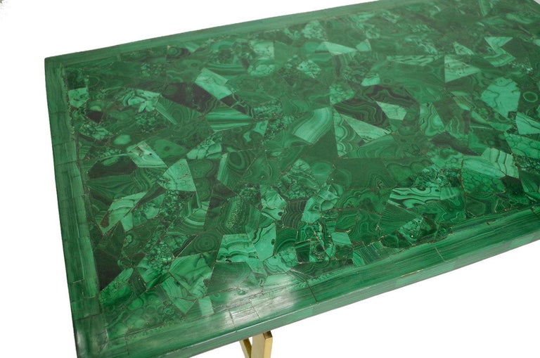 Post-Modern Malachite and Gilt Brass Coffee Table, circa 1970 For Sale
