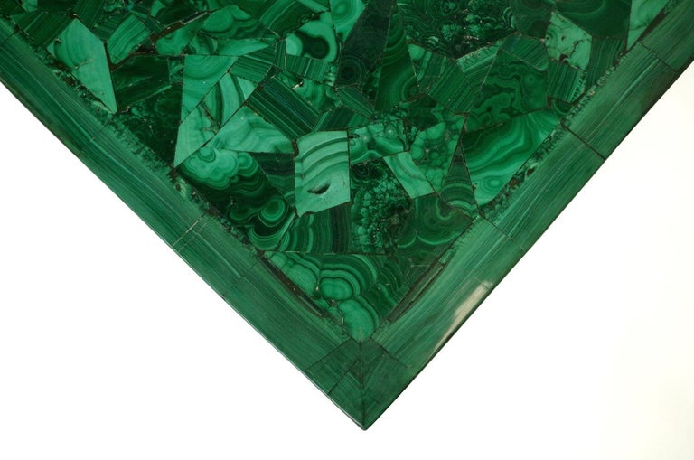 Malachite and Gilt Brass Coffee Table, circa 1970 In Good Condition For Sale In Saint-Ouen, FR
