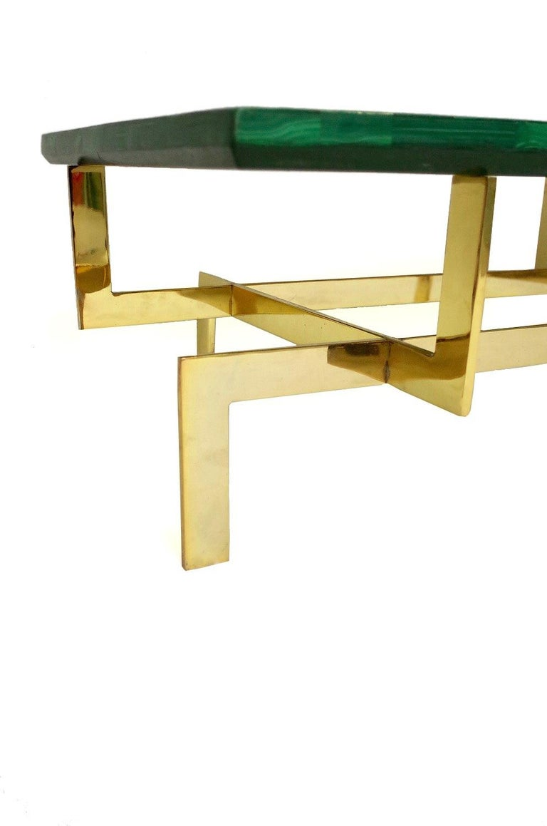 20th Century Malachite and Gilt Brass Coffee Table, circa 1970 For Sale