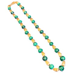Malachite and Gold Bead Necklace