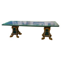 Malachite and Lapis Lazuli Dining Table on Twin Carved Baroque Style Pedestals
