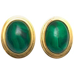Malachite and Yellow Gold Clip Earrings