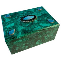 Malachite Box with Semi Precious Stones Set in Sterling