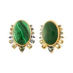 Malachite Cabochon Earrings