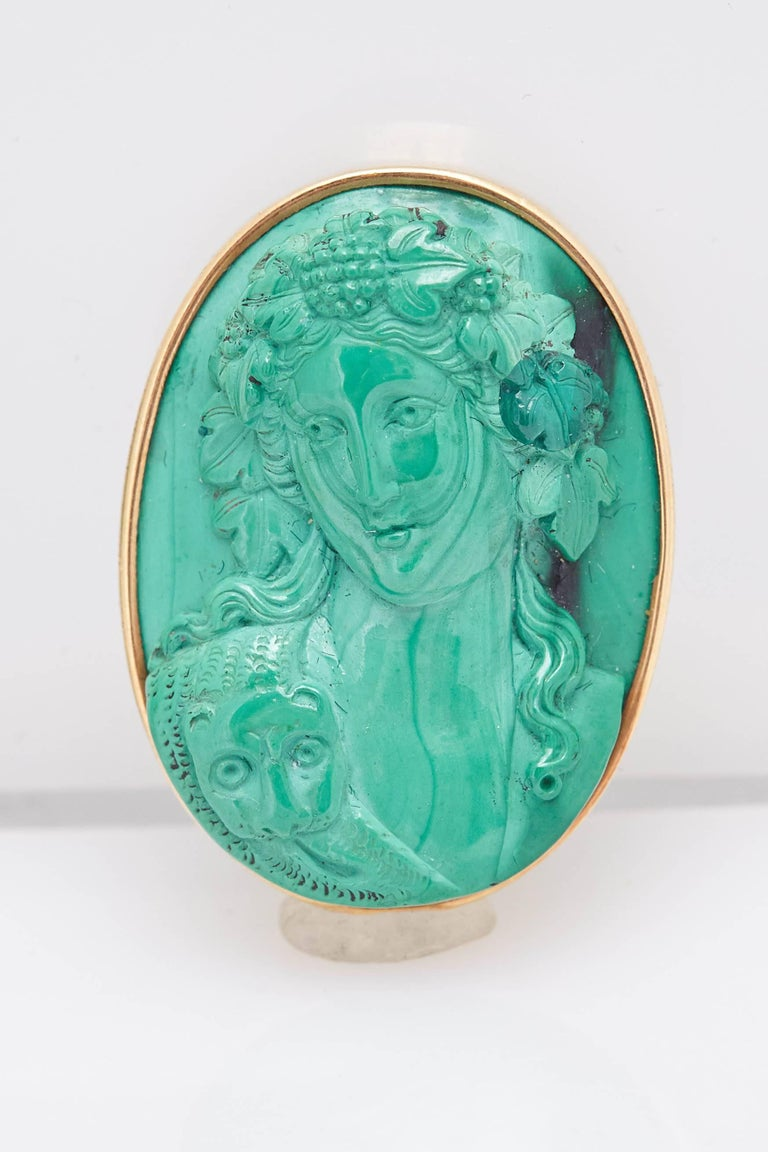 Retro Malachite Cameo Gold Earclips For Sale