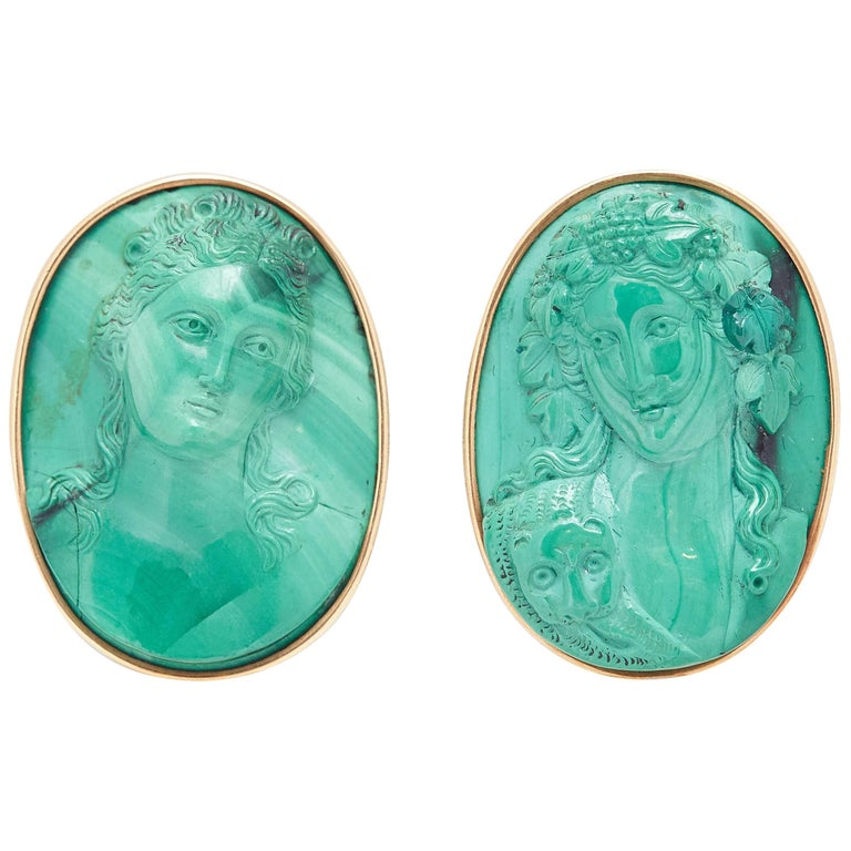 Malachite Cameo Gold Earclips For Sale
