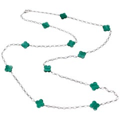 Malachite Clover Sterling Silver Long Station Necklace