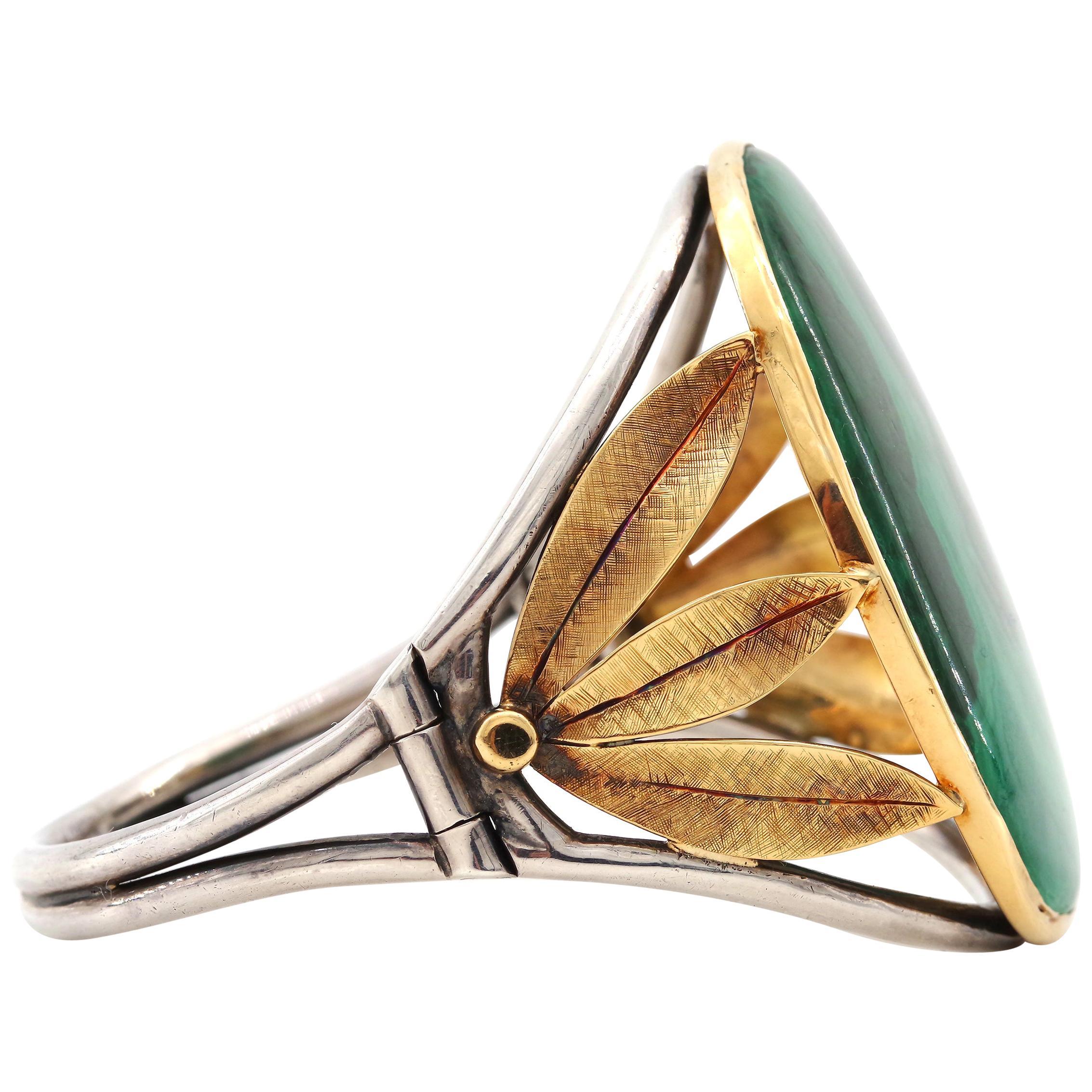 Gold & Silver Cuff Bracelet with Malachite