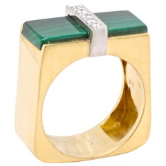 Malachite Diamond 14 Karat Gold Ring