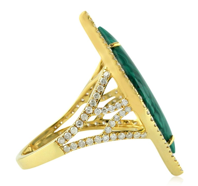 Contemporary Malachite Diamond 18 Karat Cocktail Ring For Sale