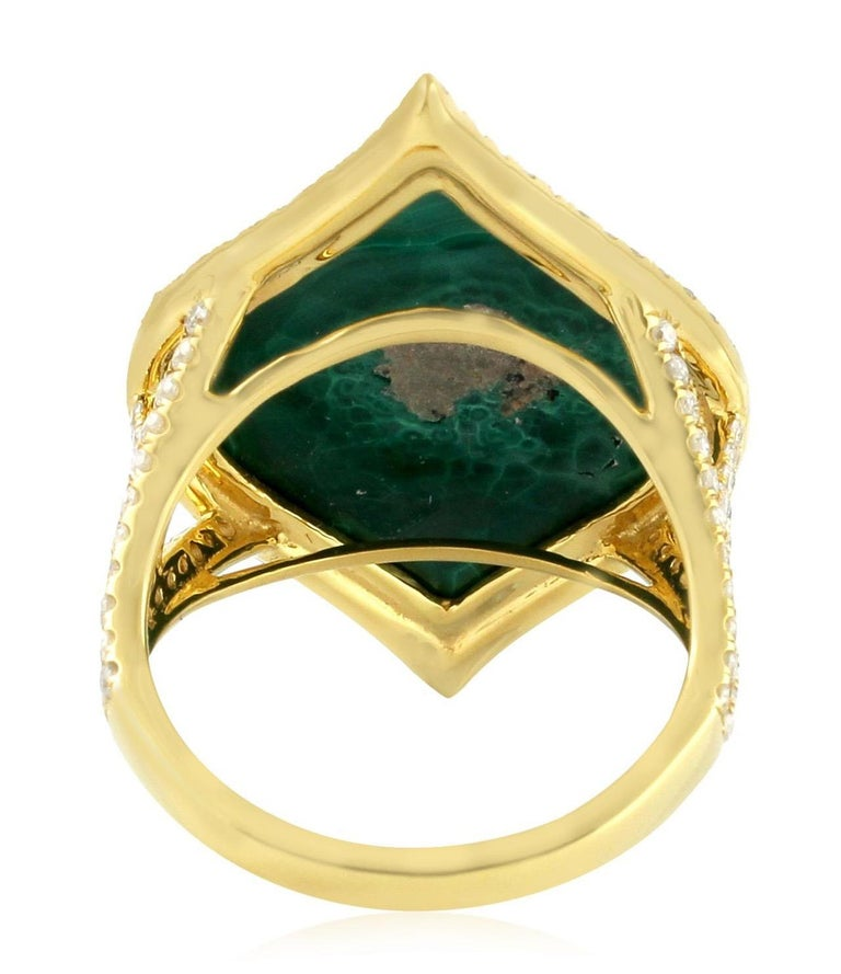 Malachite Diamond 18 Karat Cocktail Ring In New Condition For Sale In Hoffman Estate, IL