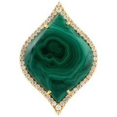 Malachite Diamond 18 Karat Cocktail Ring