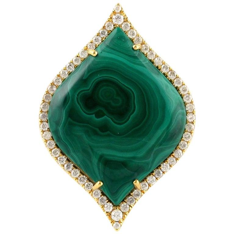 Malachite Diamond 18 Karat Cocktail Ring For Sale