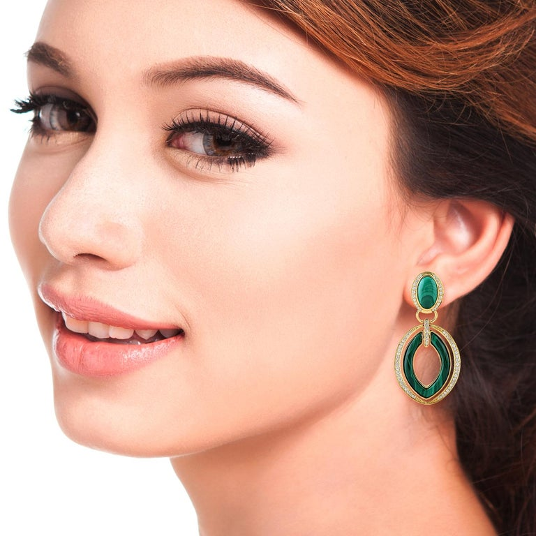 Handcrafted from 18-karat gold, these stunning earrings are set with 15.85 carats malachite and 1.45 carats of sparkling diamonds.  FOLLOW  MEGHNA JEWELS storefront to view the latest collection & exclusive pieces.  Meghna Jewels is proudly rated as