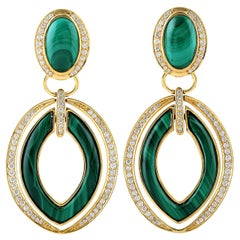 Malachite Diamond 18 Karat Gold Door Knocker Earrings