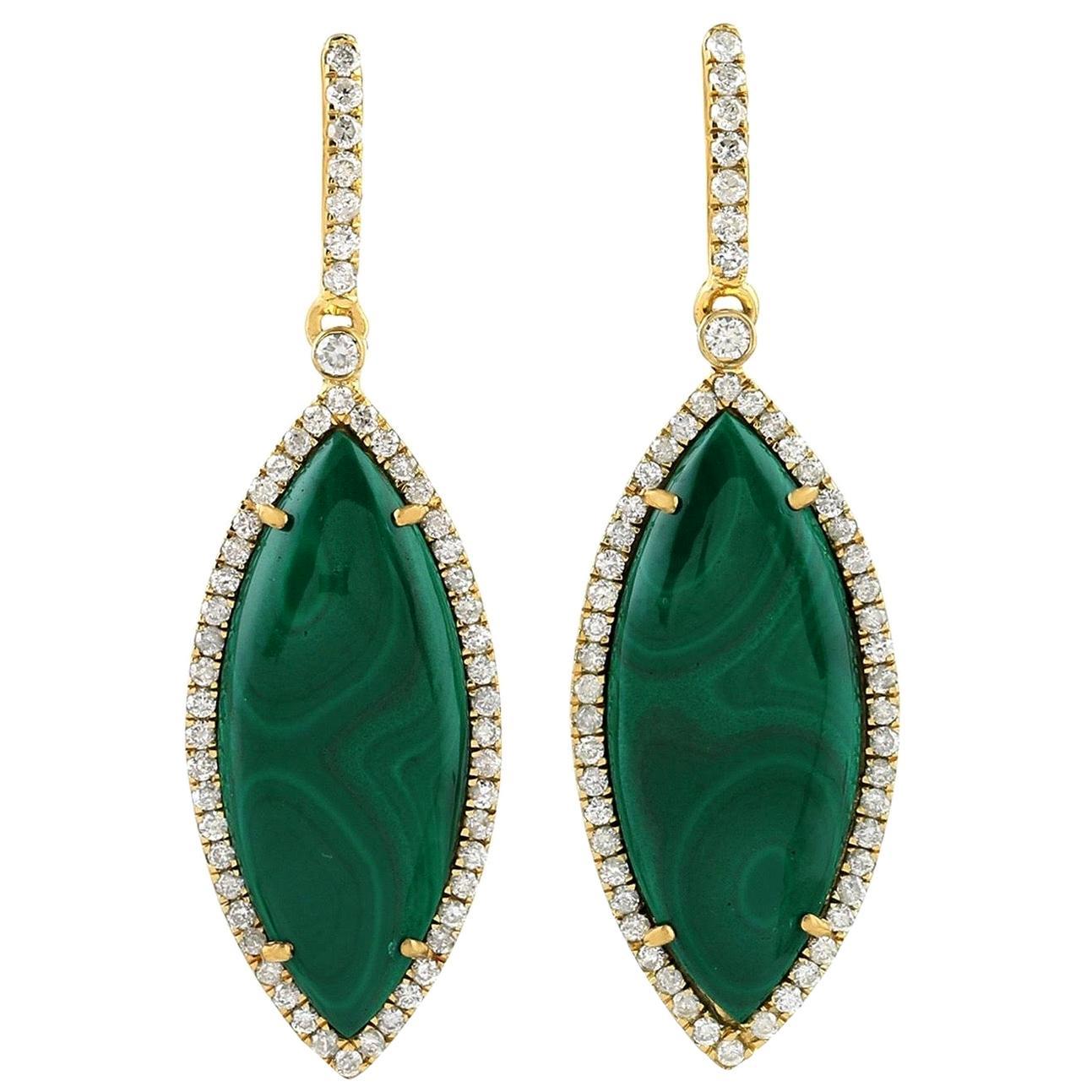 Malachite Diamond 18 Karat Gold Earrings