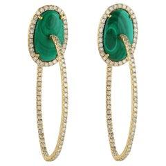 Malachite Diamond 18 Karat Gold Hoop Earrings