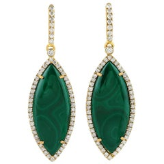Malachite Diamond 18 Karat Gold Marquise Earrings