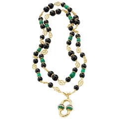 Malachite, Diamonds, Onyx 18 Karat Yellow Gold Necklace