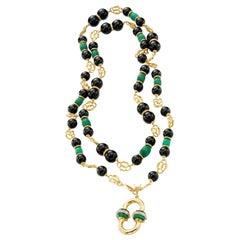 Malachite, Diamonds, Onyx 18 Karat Yellow Gold Necklace