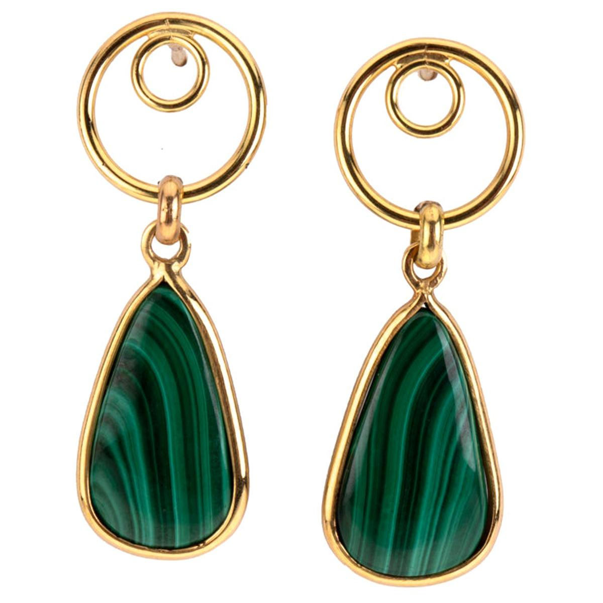 Malachite Earring 18 Karat Gold