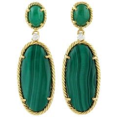Malachite Emerald Diamond 18 Karat Gold Earrings