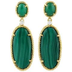 Malachite Emerald Diamond 18 Karat Gold Earrings