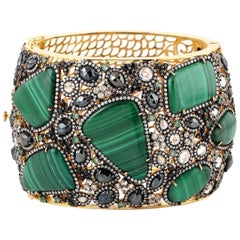 Malachite Emerald Diamond Cuff Bracelet