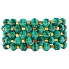 Malachite Gemstone Bracelet Stack 'Set of Five Bracelets'