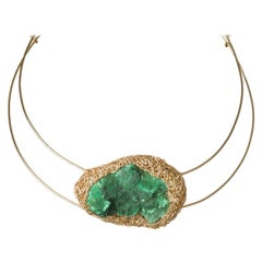 Artist Statement Choker in Raw Malachite 14 kt Yellow Gold F Cocktail Necklace