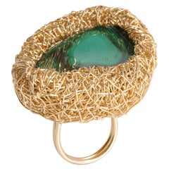 Malachite Green Stone in Woven Gold Contemporary Cocktail Ring by Sheila Westera