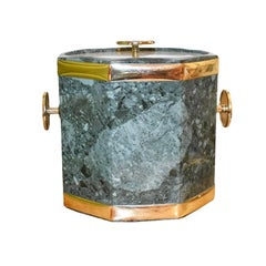 Mid Century Green Malachite Ice Bucket with Gold Detail