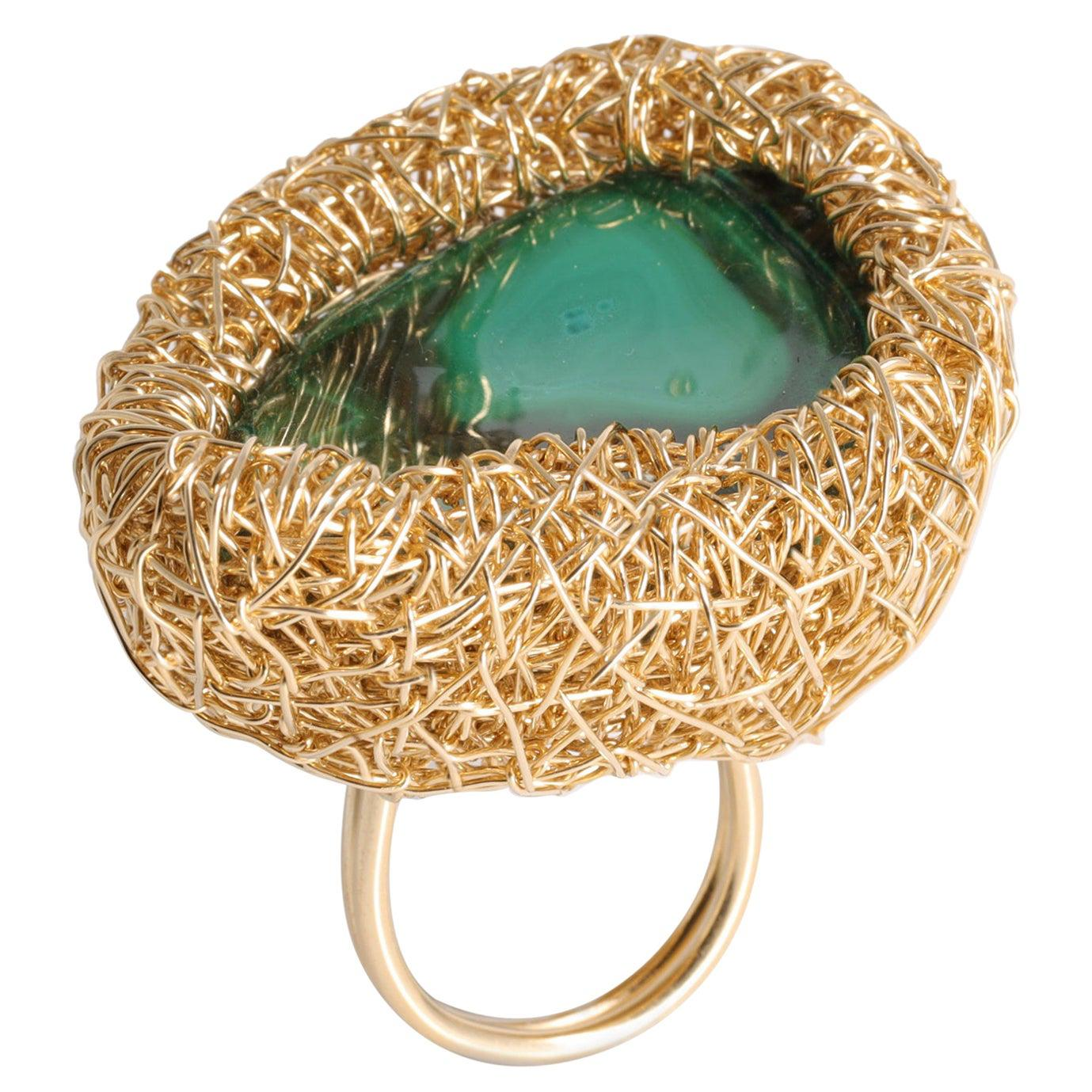 Malachite in 14 kt Gold F Woven Cocktail Statement Ring by the Artist