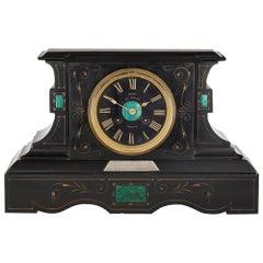 Malachite Inlaid Black Marble Plinth-Form Mantel Clock