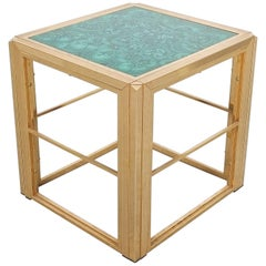 Malachite Marquetry Brass Side Table, Midcentury, France