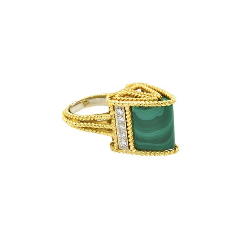 Malachite Modernist Ring 18 Karat In Good Condition For Sale In Los Angeles, CA