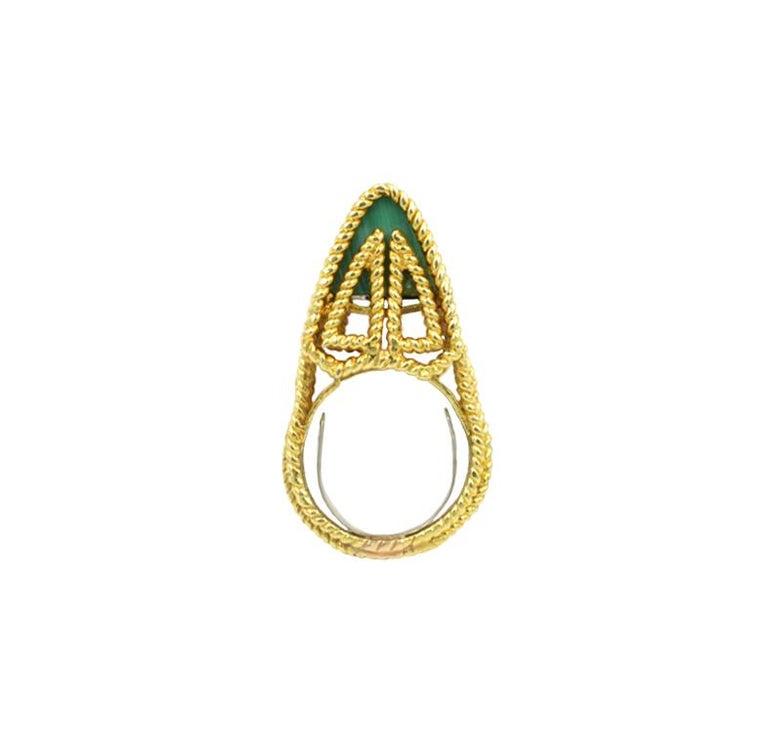 Women's or Men's Malachite Modernist Ring 18 Karat For Sale
